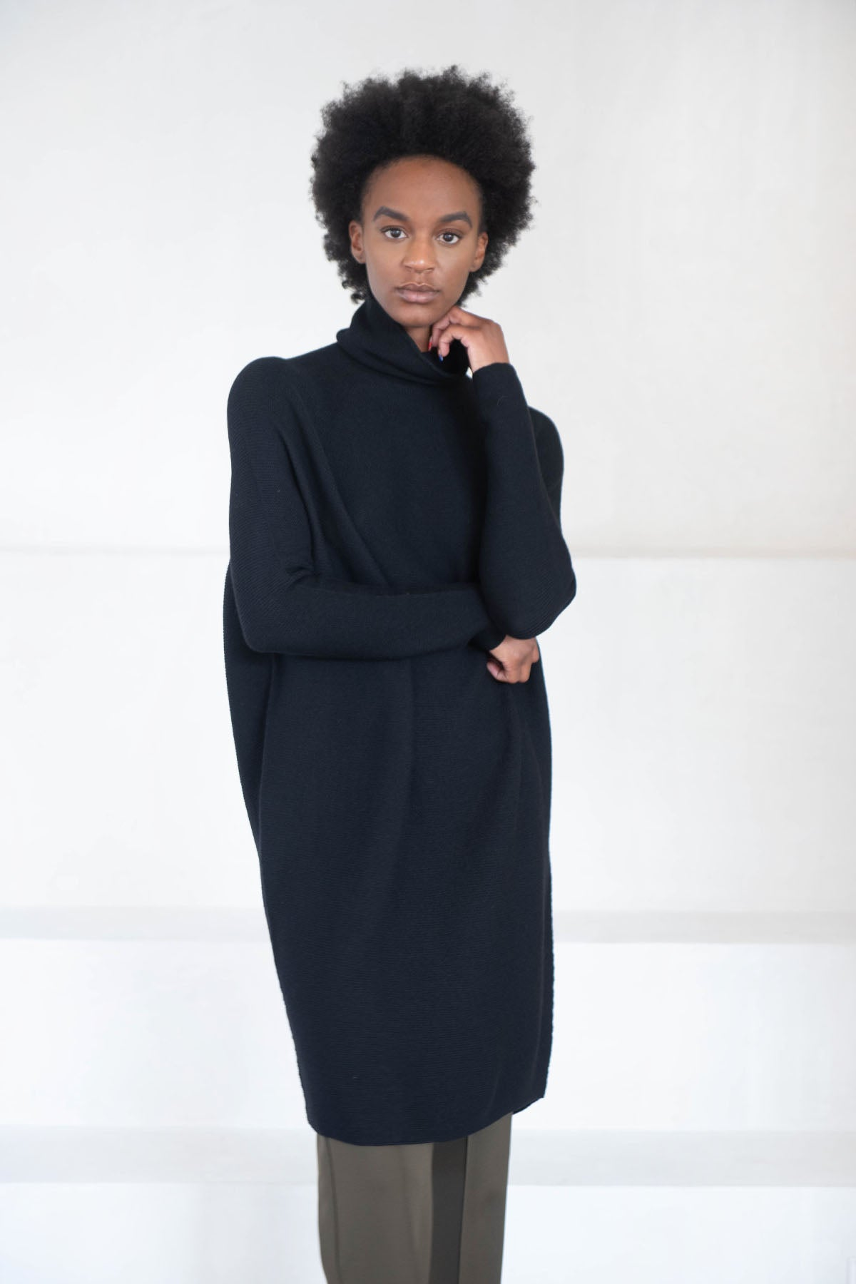 Christian Wijnants - KOHA merino wool turtleneck dress, black