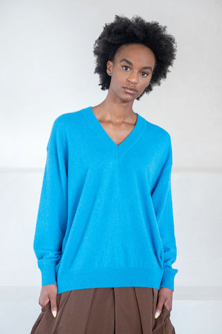 khage v-neck sweater, blue