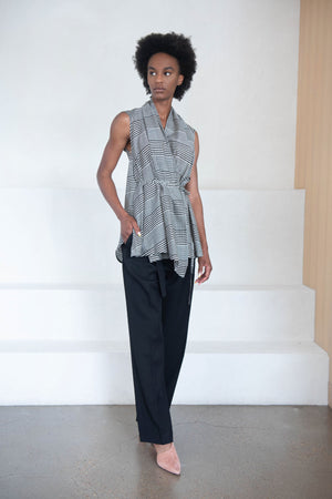 Christian Wijnants - TRIPTI wrap top, grey check