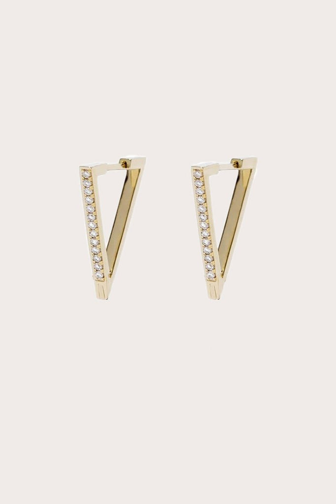 Azlee - Circuit Diamond V Hoop, Gold
