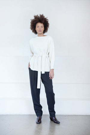 CO - wool cashmere belted sweater, ivory