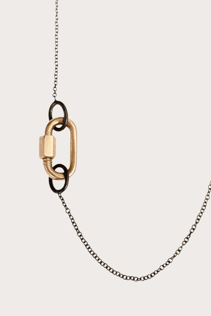 14K Rose Gold Baby Chain Necklace, Blackened Silver Chain by Marla Aaron @ Kick Pleat - 2