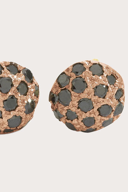 Blanca Monrós Gómez - Dot Earrings - Rose Gold and Black Diamonds