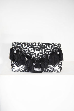 DRIES VAN NOTEN - envelope tassel clutch, white and black