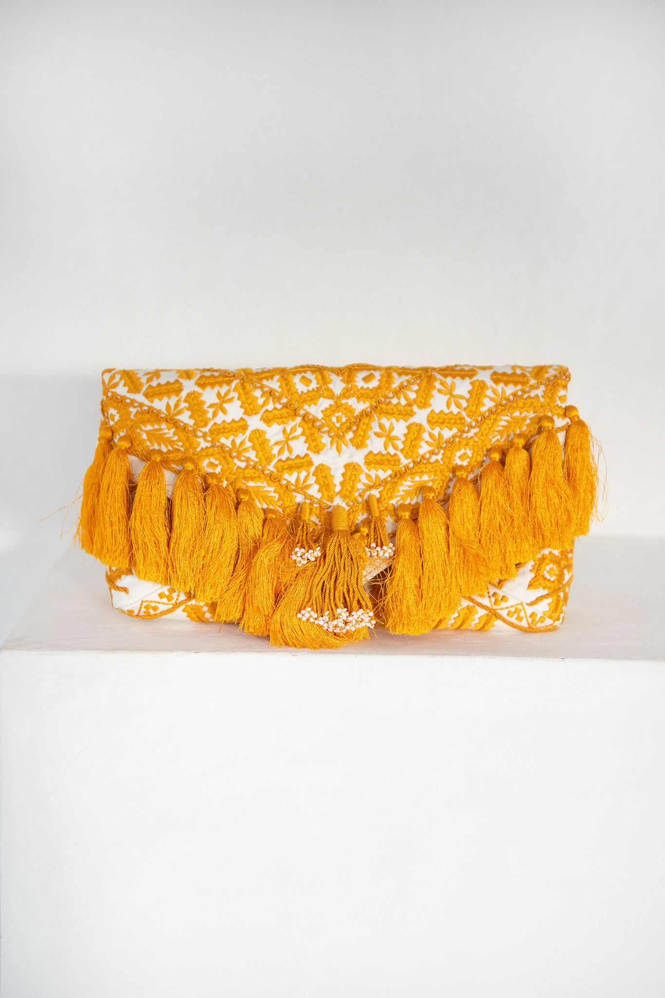 DRIES VAN NOTEN - envelope tassel clutch, off-white