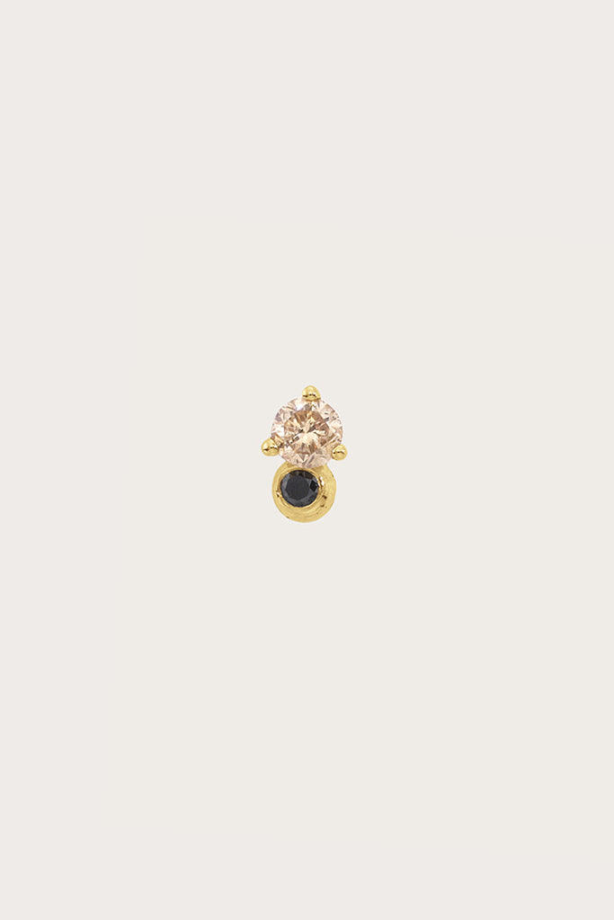 Duo Stud Earrings, Black & Champagne Diamond by Blanca Monros Gomez