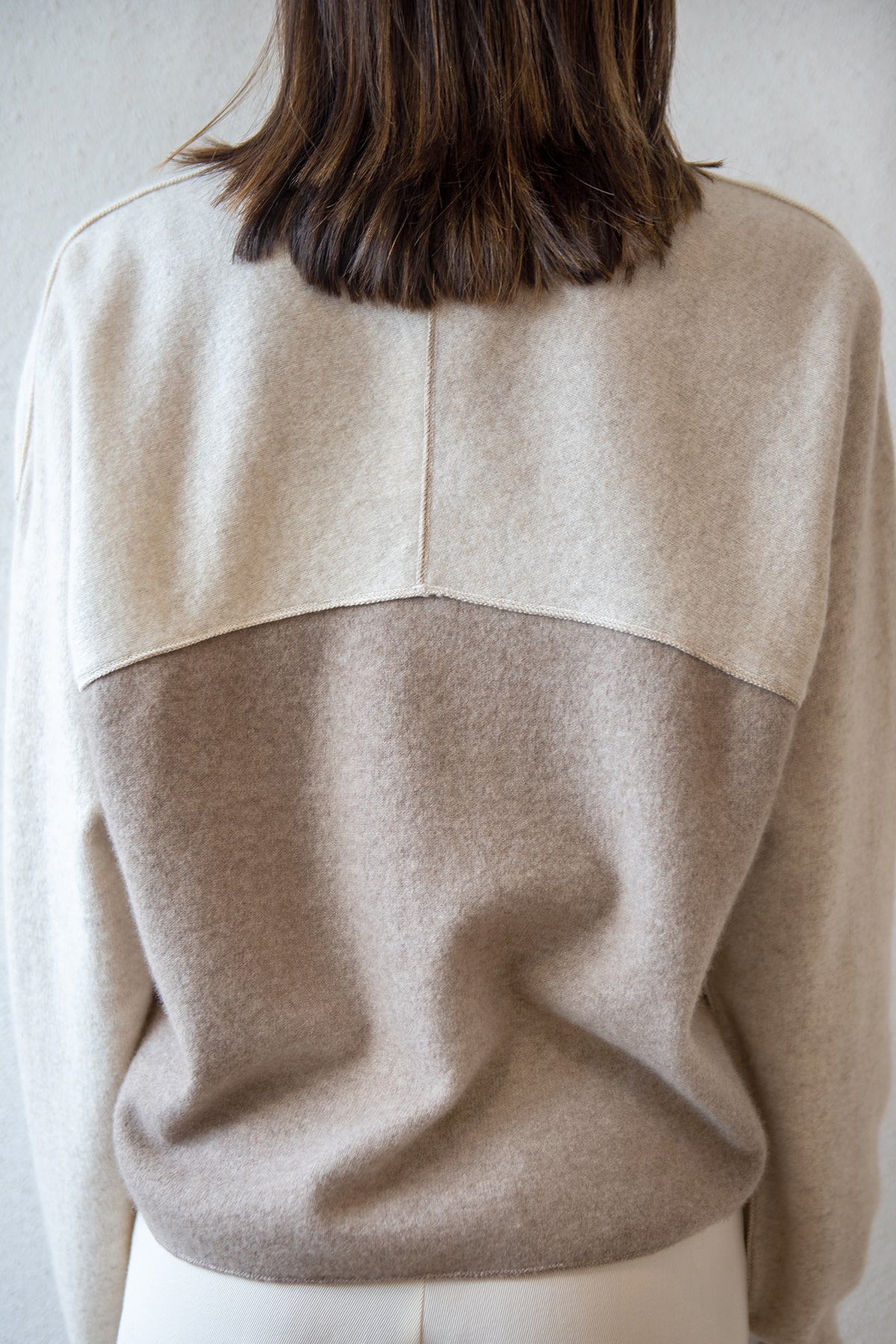 Dušan - patchwork sweatshirt, cream and brown
