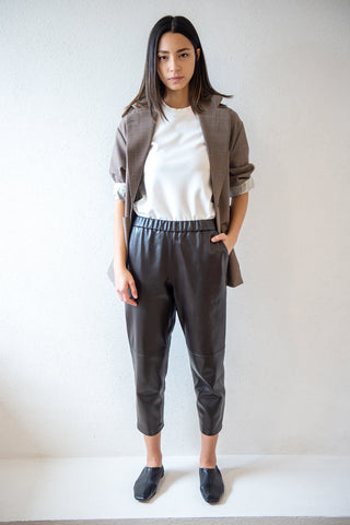 leather pijama pants, chocolate