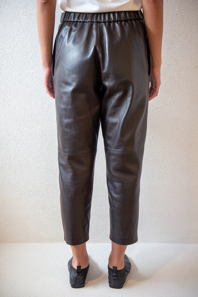 Dušan - leather pijama pants, chocolate