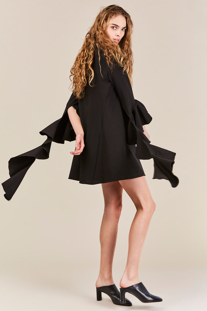 Ellery - Kilkenny Frill Sleeve Mini Dress, Black
