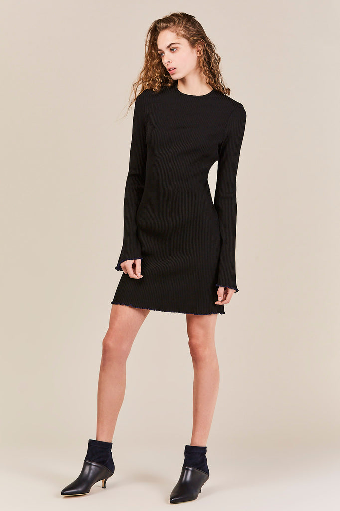 Sunshine Kid Mini Rib Dress, Black