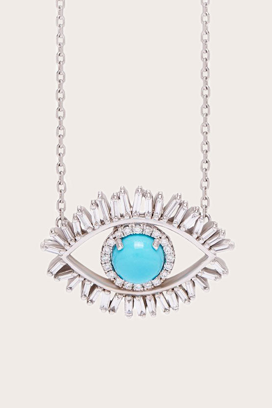 SUZANNE KALAN - Medium Evil Eye Fireworks Necklace, White Gold
