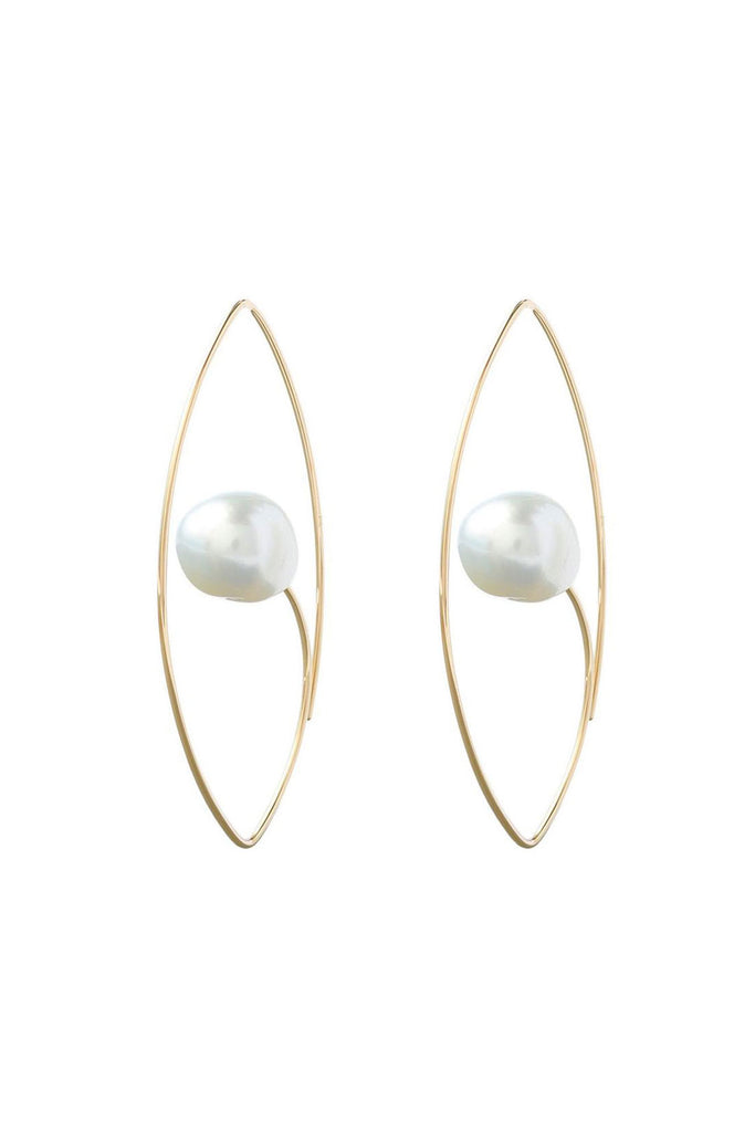 White South Sea Pearl Floating Oval Earring, Gold
