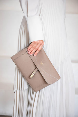 cricket clutch, taupe