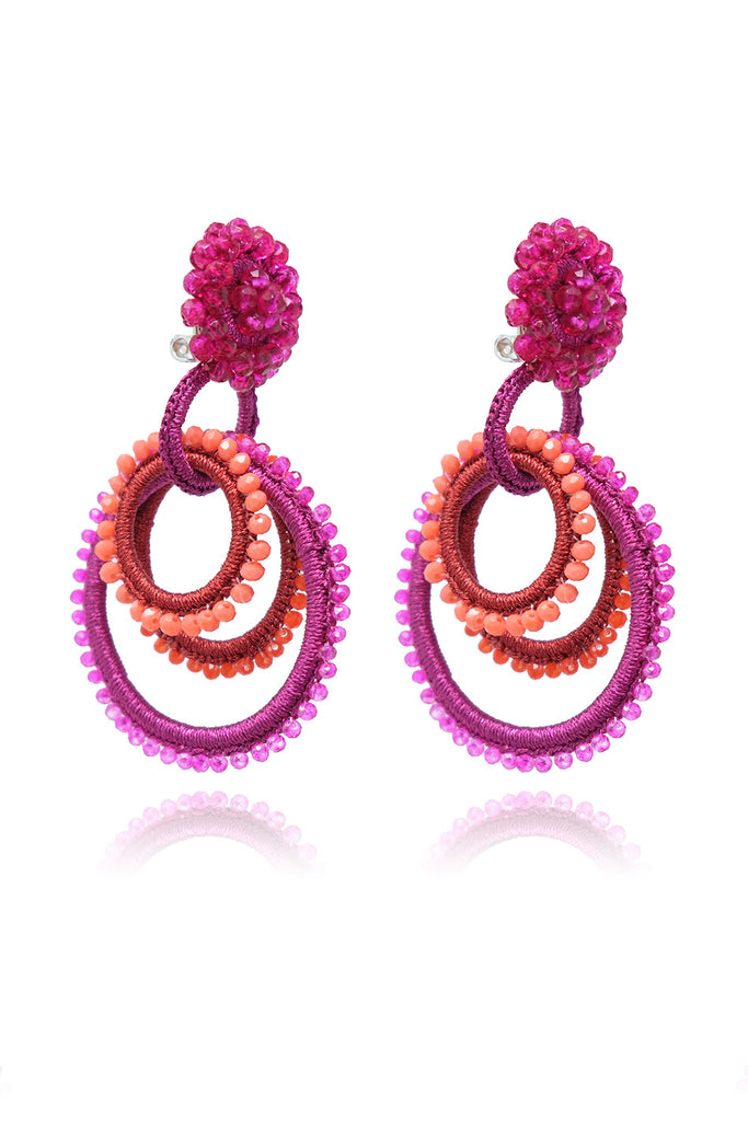 BIBI MARINI - carmen earrings, Red/Fuschsia