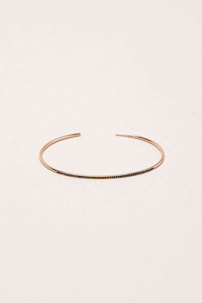 Subtle Cuff with Black Pave Diamonds, Black Diamonds/Rose Gold