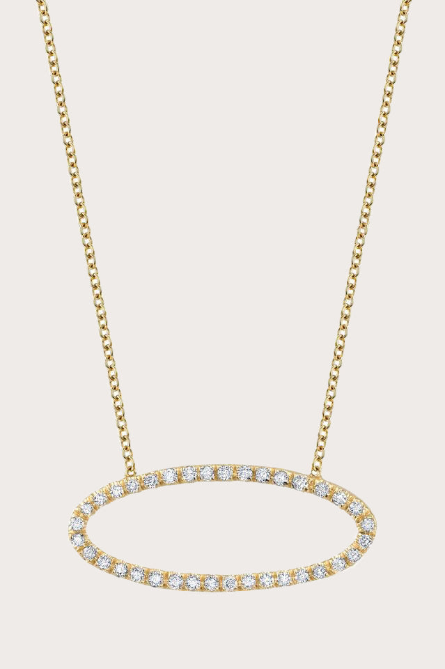 Convex necklace, gold with diamonds