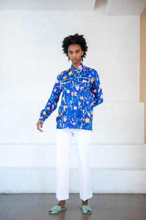 PLAN C - ERBARIO PRINT SHIRT, blue multi