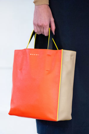 small museo soft bag, beige and orange