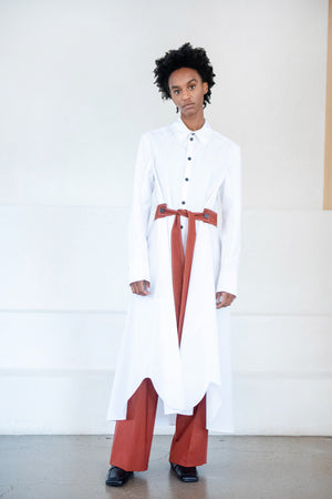 GAUCHERE - sybil dress, white and brick