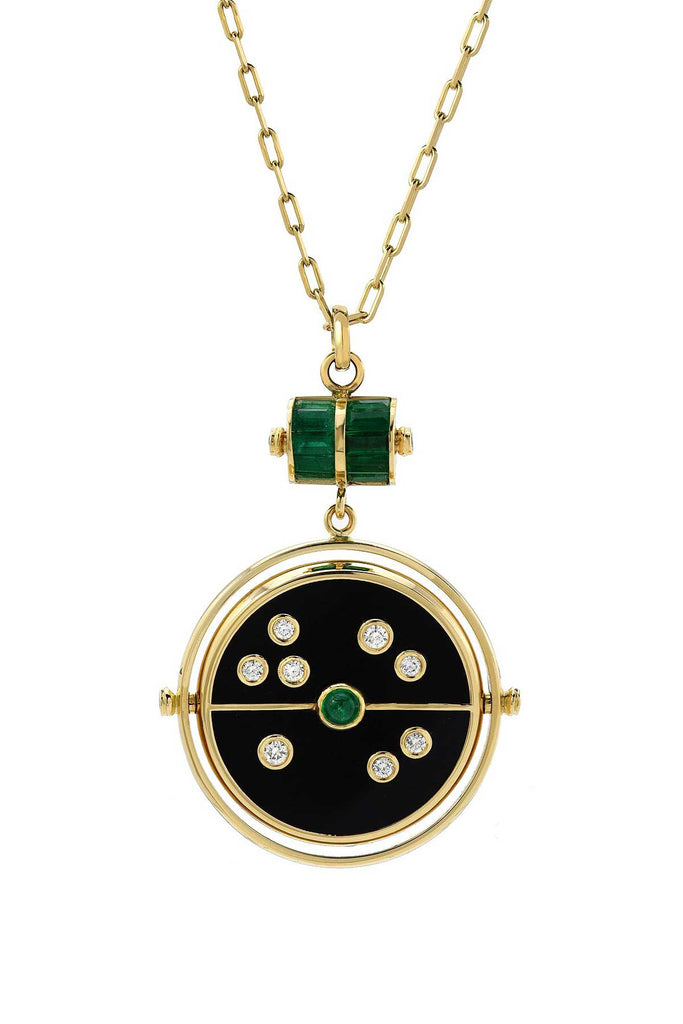 Grandfather Compass Pendant, Black Onyx & Emerald