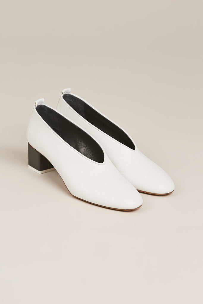 Mildred Pump Leather, Bianco
