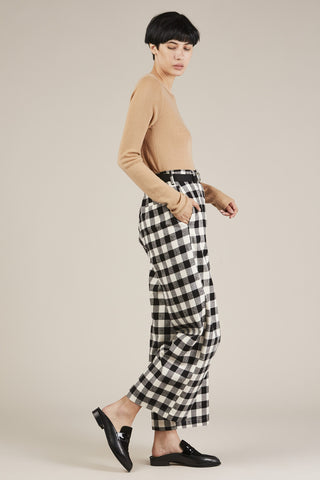 Checkered Over Pant, Black/White