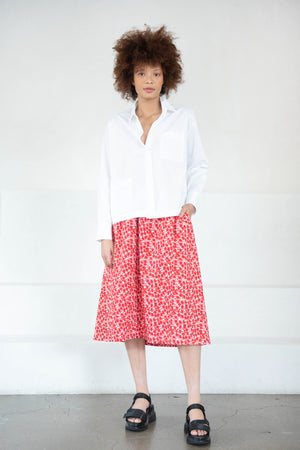 Hache - easy midi skirt, red and white
