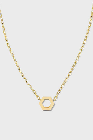 Hexagon Foundation jump ring necklace, gold