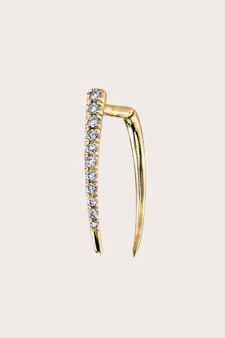 Pave Infinite Tusk Earring, Gold & White Diamond