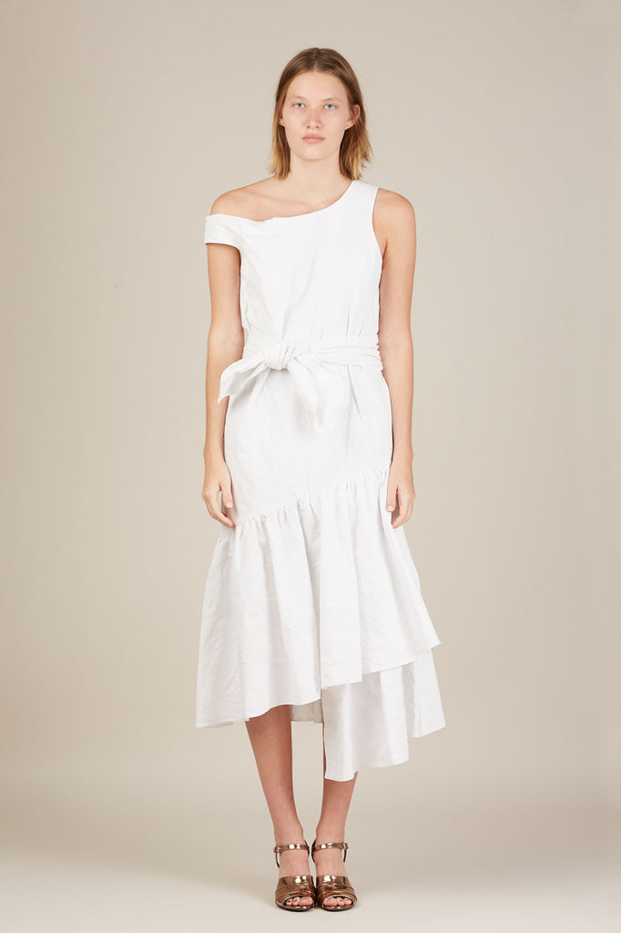 Asymmetric Ruffle Dress - White - Isa Arfen