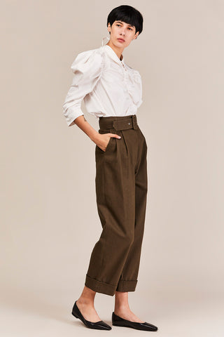 Belted Trouser, Olive