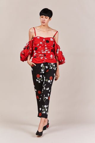 print ruched bubble sleeve top