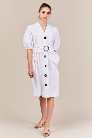 Full Sleeve Button Down Dress, White