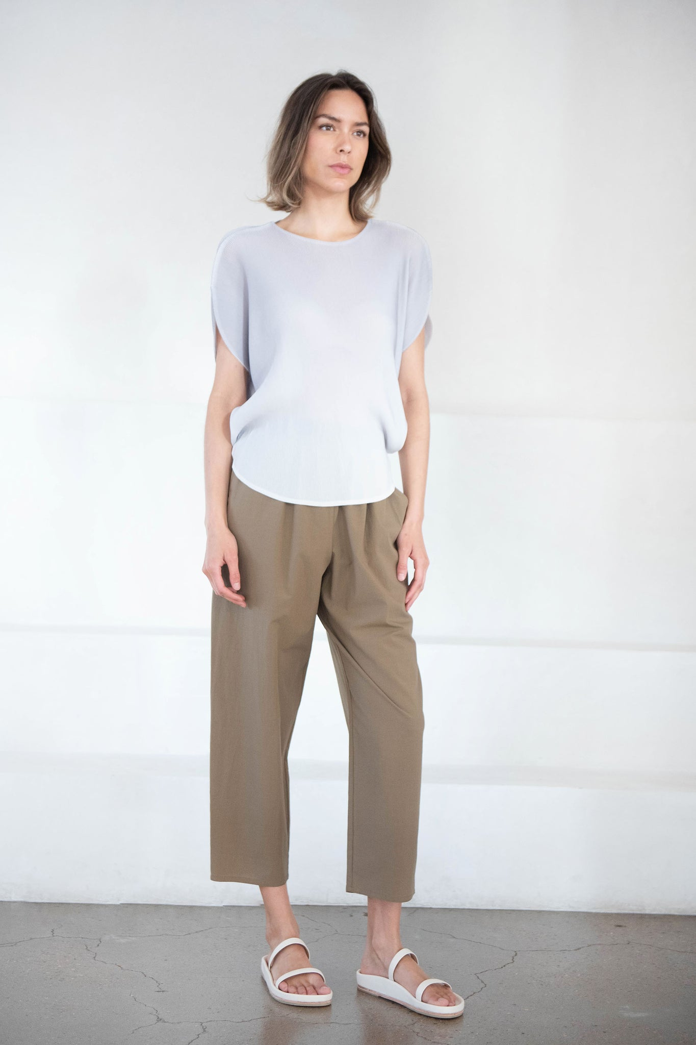 Pleats Please by Issey Miyake - mist april top, gray