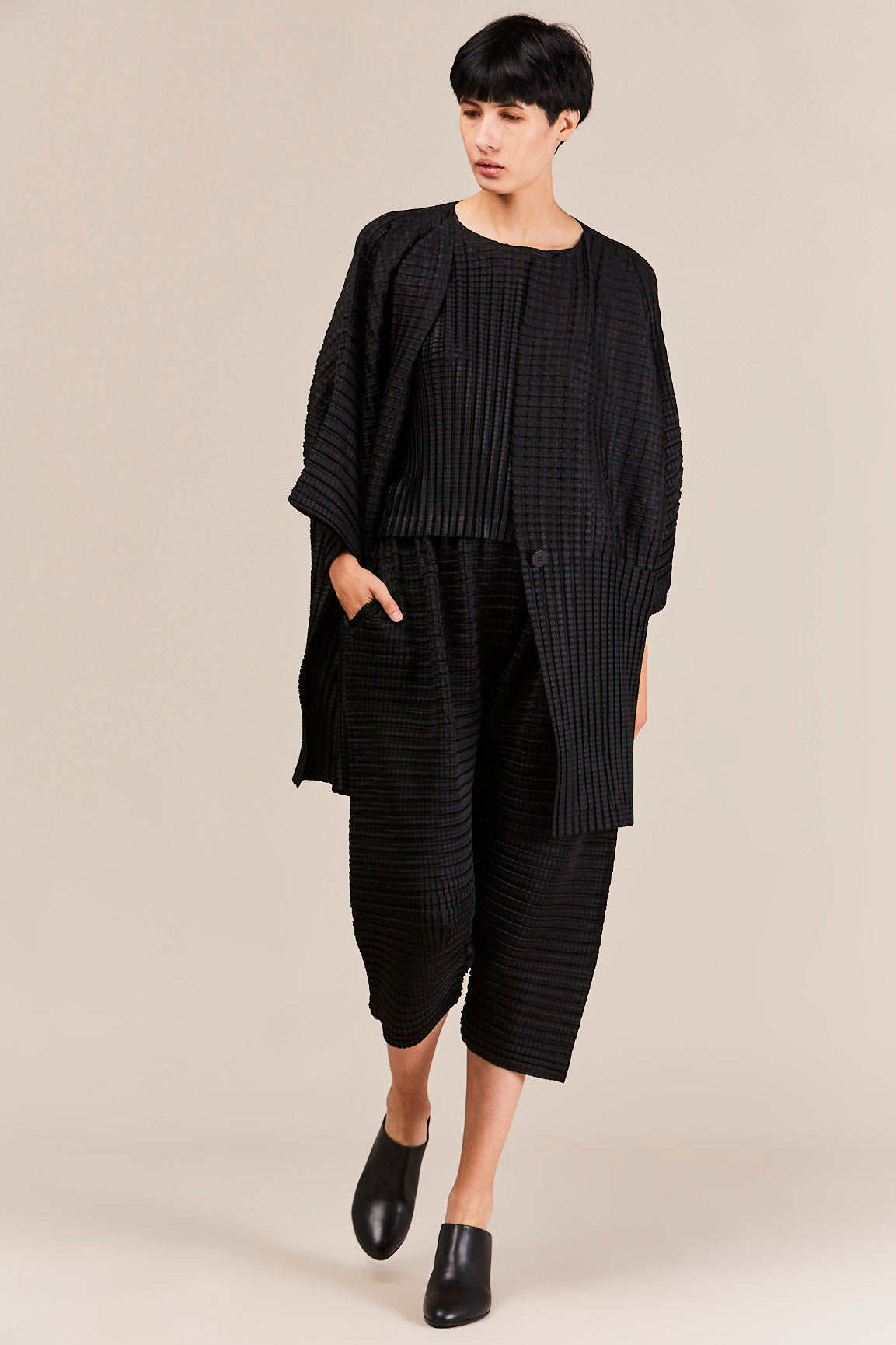 Pleats Please by Issey Miyake - Arare Cardigan, Black
