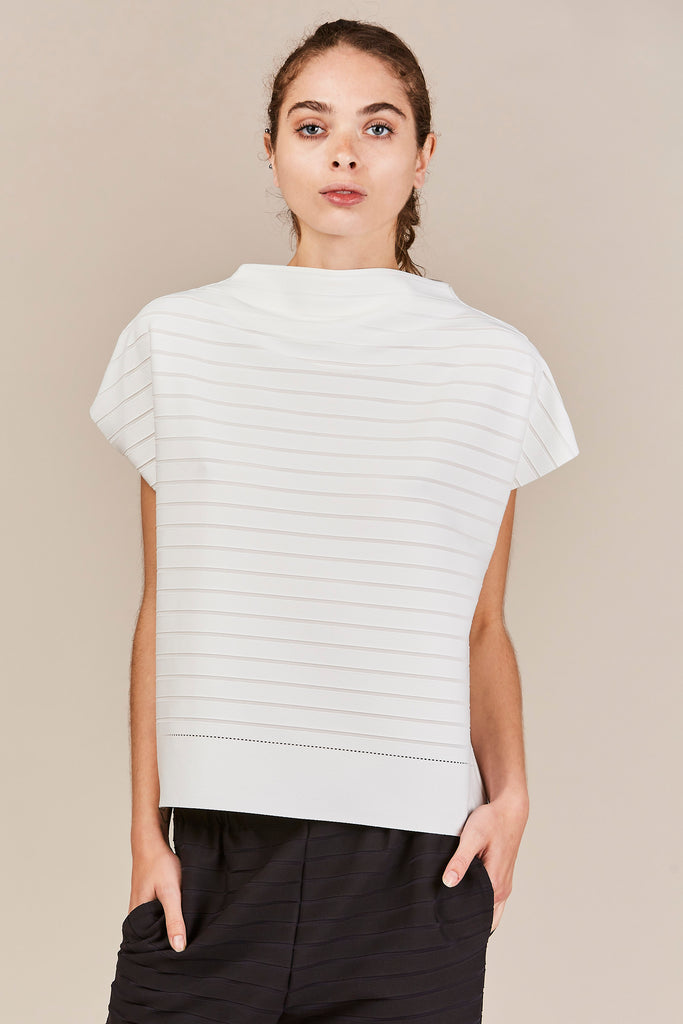 Ribbed Square Top, White