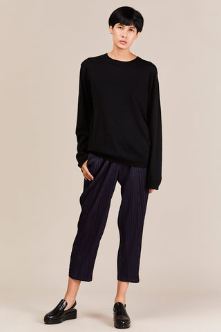Basic Pleated Pants, Navy