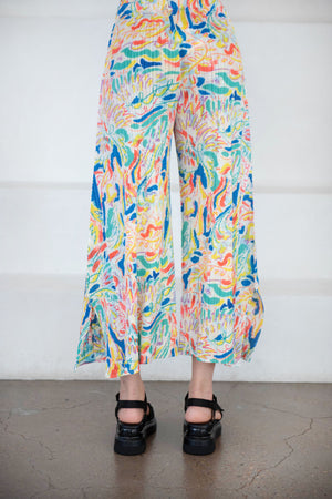 Pleats Please by Issey Miyake - playing pants, multi