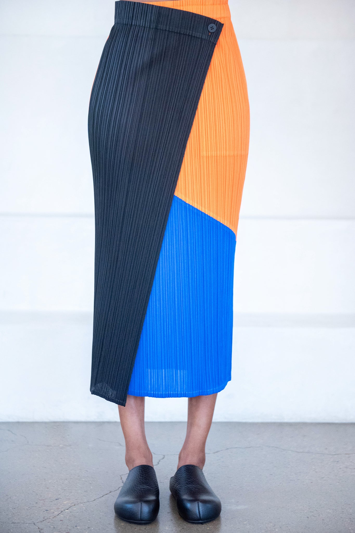 Pleats Please by Issey Miyake - collage skirt, orange and blue