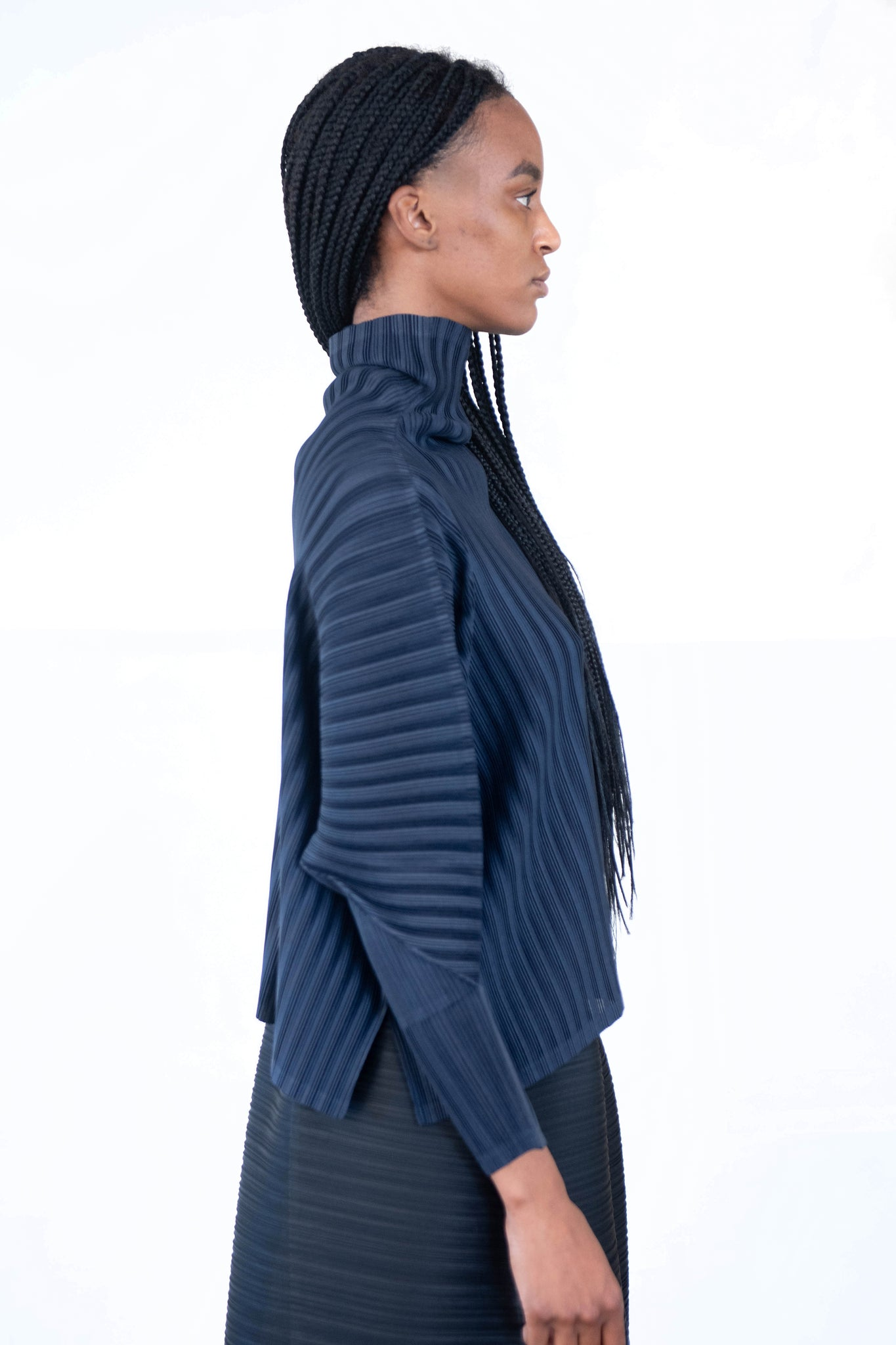 Pleats Please by Issey Miyake - november rib pleats top, midnight