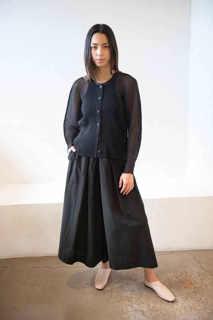 Pleats Please by Issey Miyake - tatami july cardigan, black