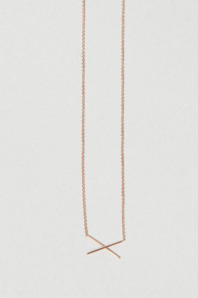 X Necklace, Rose Gold