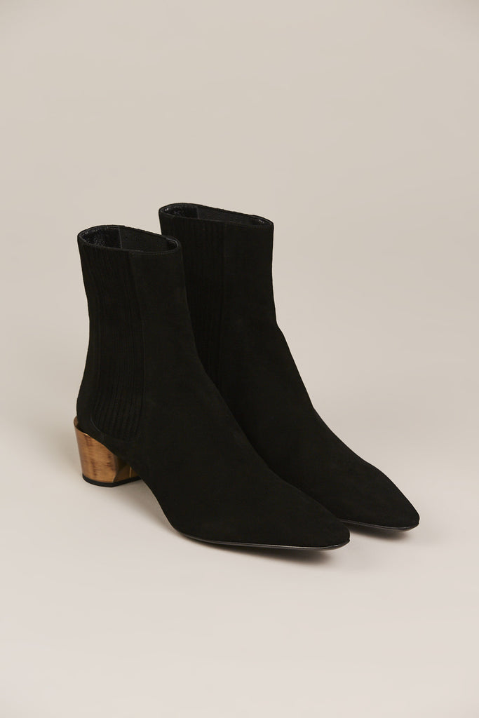 Suede Ankle Boot, Black