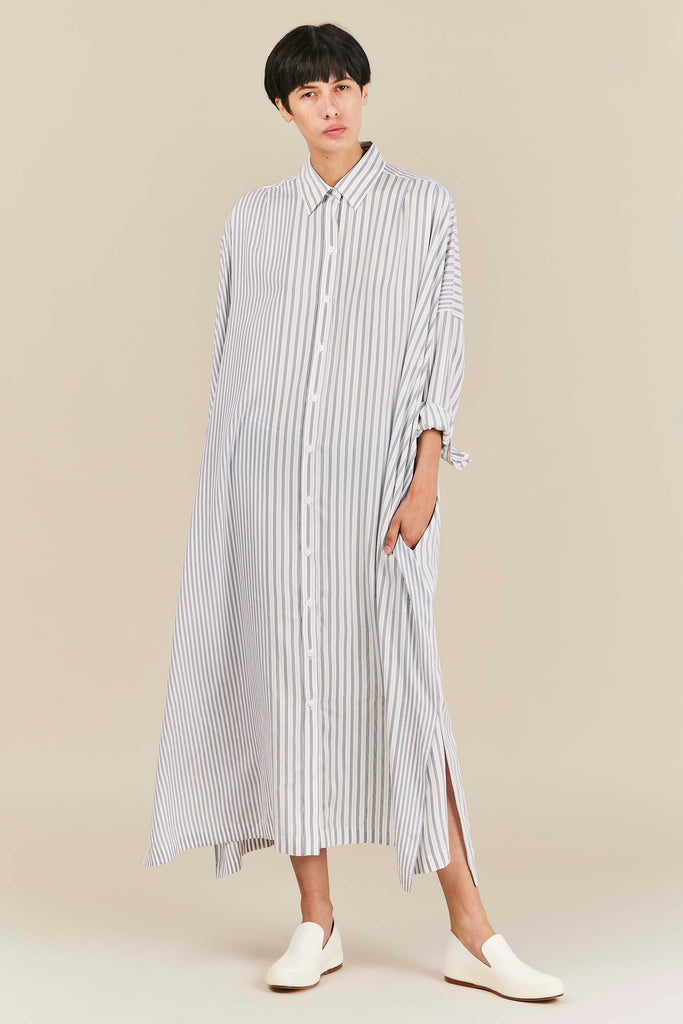 Exercise Stripe Silk Dress