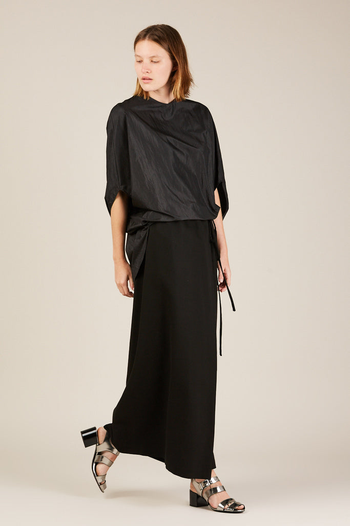 Long wrap skirt, Black
