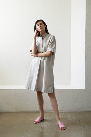 banded collar shirtdress, fog