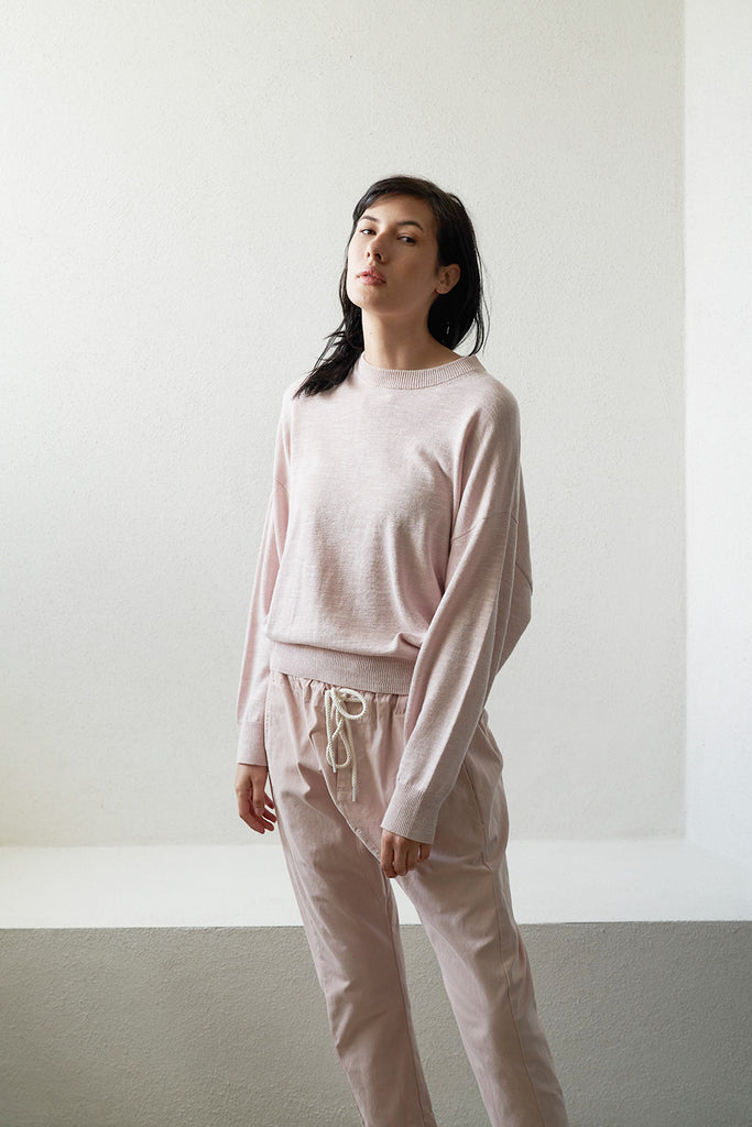cotton linen oversize knit, pale pink