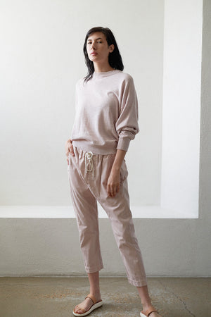 BASSIKE - cotton linen oversize knit, pale pink