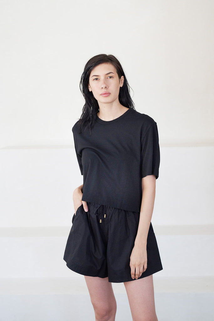 cropped boxy tee, black